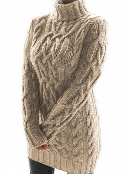 High Neckline Solid Casual Loose Regular Shift Sweaters_2