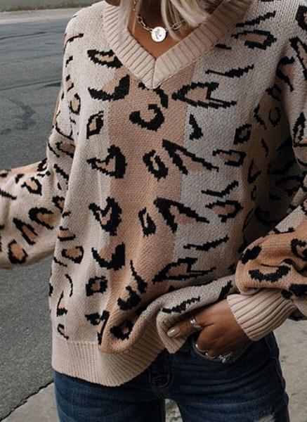 V-Neckline Leopard Elegant Loose Regular Shift Sweaters_4