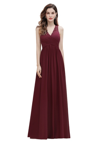 V-Neck A-line Chiffon Sleeveless Evening Maxi Dress_1
