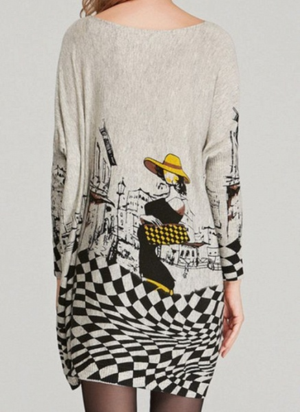 Round Neckline Color Block Casual Loose Long Shift Sweaters_9