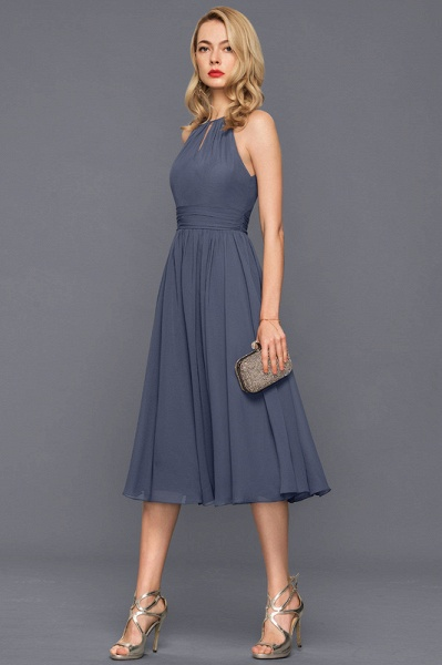 Scoop Neck A-Line Knee-Length Chiffon Cocktail Dress With Ruffle_4