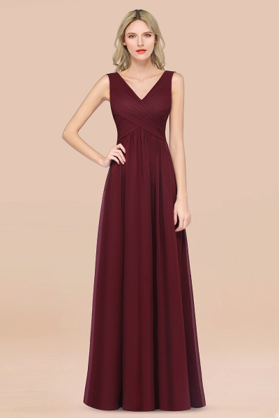 A-Line Chiffon Straps V-Neck Sleeveless Floor-Length Bridesmaid Dress with Ruffles_10