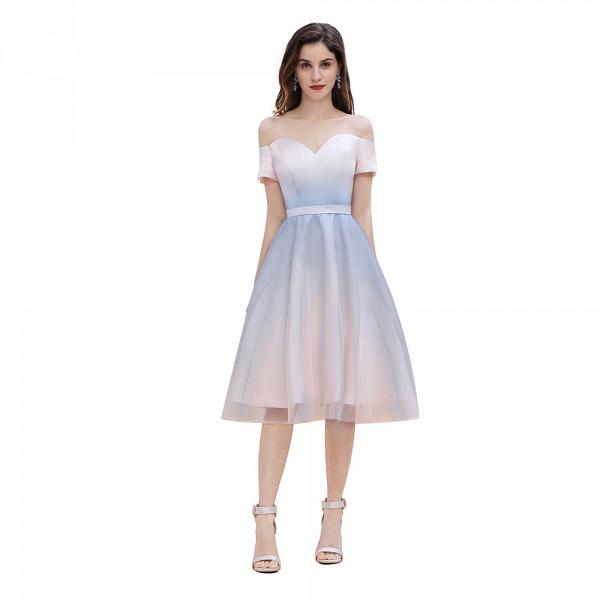 Off Shoulder Sweetheart Gradient A-line Evening Dress Tea Length_1