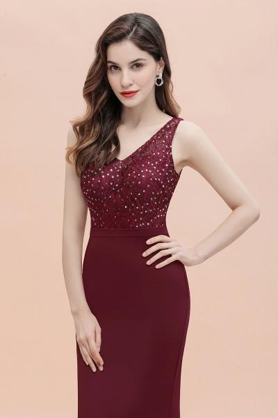 V-Neck Mermaid Evening Dress Sequins Chiffon Slim Party Dress_11