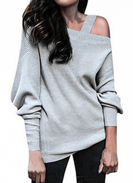 Oblique Neckline Solid Casual Loose Regular Hollow Out Sweaters_4