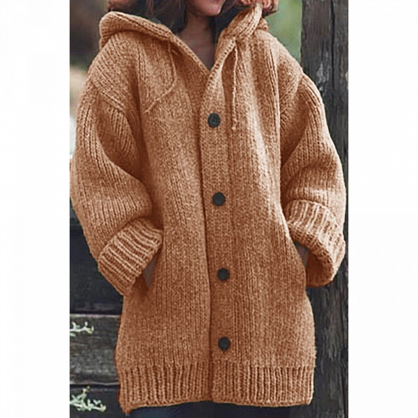 Women Long Cardigan Solid Hooded Sweater_7