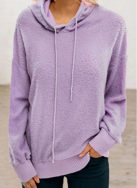 Hooded Solid Casual Loose Regular Shift Sweaters_5