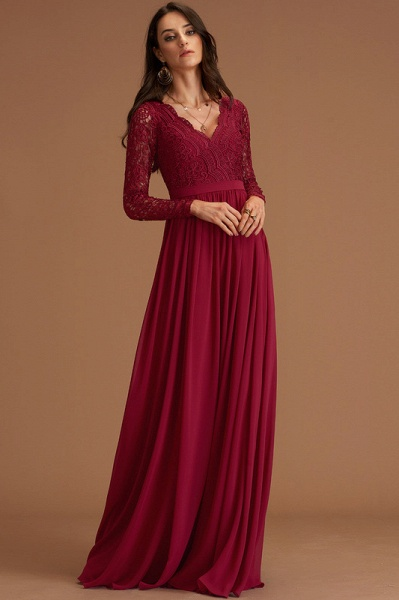 A-Line V-neck Floor-Length Chiffon Evening Dress With Lace_4