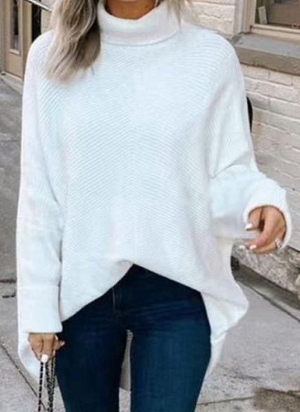 High Neckline Solid Casual Loose Regular A-line Sweaters_1