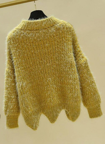 Round Neckline Color Block Casual Loose Regular Shift Sweaters_2