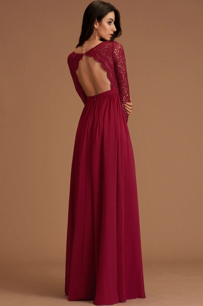 A-Line V-neck Floor-Length Chiffon Evening Dress With Lace_5