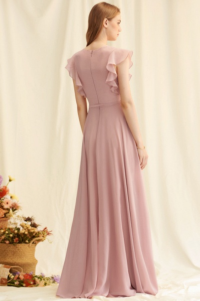 A-Line V-neck Floor-Length Chiffon Evening Dress With Split Front_4