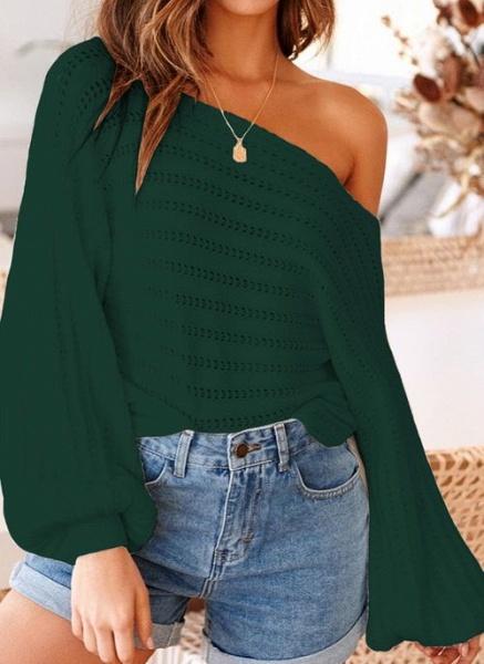Oblique Neckline Solid Trendy Loose Regular Shift Sweaters_5