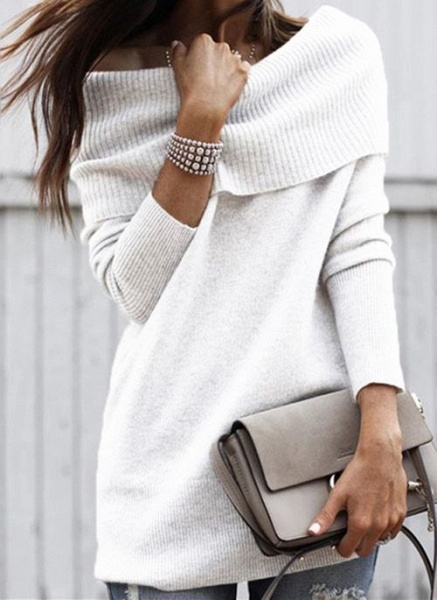 Off the Shoulder Solid Casual Regular Shift Sweaters_1