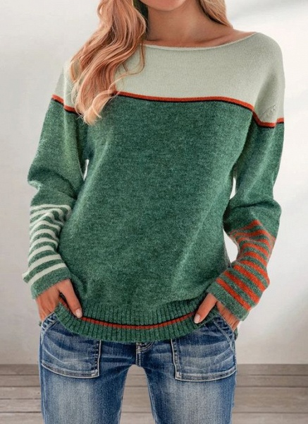 Boat Neckline Color Block Casual Loose Regular Shift Sweaters_3