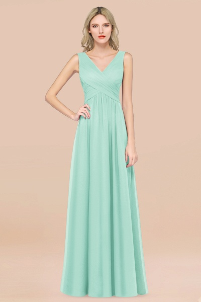 A-Line Chiffon Straps V-Neck Sleeveless Floor-Length Bridesmaid Dress with Ruffles_36