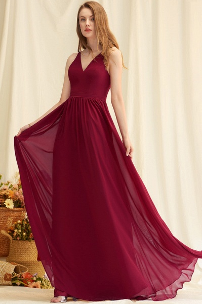 A-Line Floor-Length Chiffon Evening Dress With Lace_2