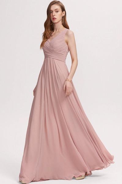 A-Line V-neck Floor-Length Chiffon Evening Dress With Ruffle_1