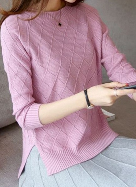 Round Neckline Solid Casual Loose Regular Shift Sweaters_9