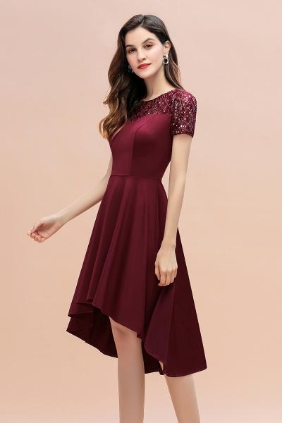 Short Sleeve Sequins Evening Hi-Lo Dress Tea Length Cocktail Dress_6