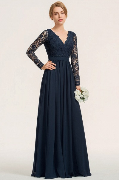 A-Line V-neck Floor-Length Chiffon Lace Evening Dress_4