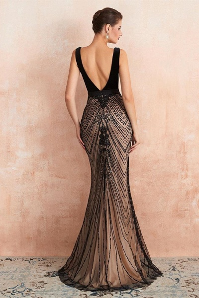 BM1991 Spaghetti Strap Sequins Mermaid Long Evening Dress_2