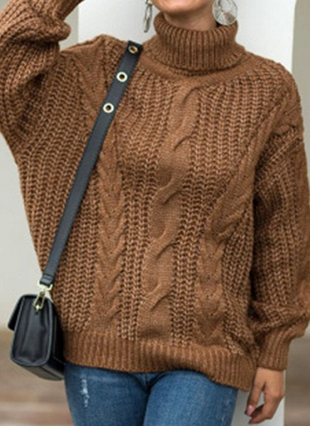 High Neckline Solid Casual Loose Regular Shift Sweaters_3