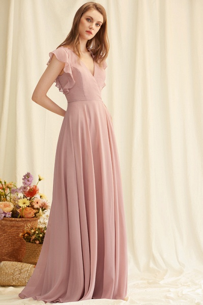 A-Line V-neck Floor-Length Chiffon Evening Dress With Split Front_3