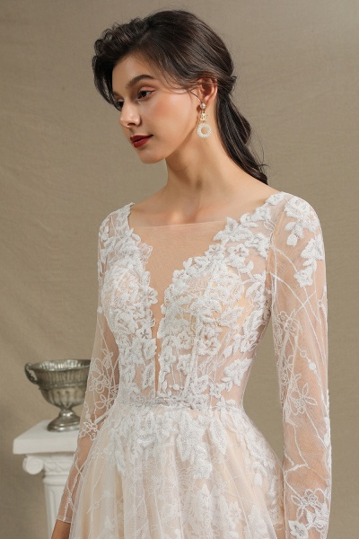 CPH230 Sheer Tulle Long Sleeve A-line Illusion Lace Wedding Dress_7