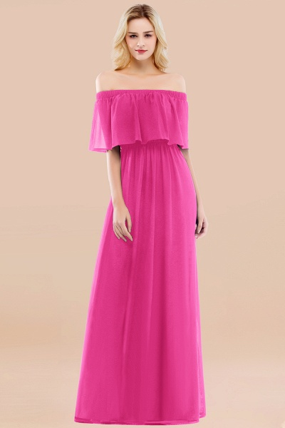 A-line Chiffon Off-the-Shoulder Short-Sleeves Ruffles Floor-length Bridesmaid Dress_9