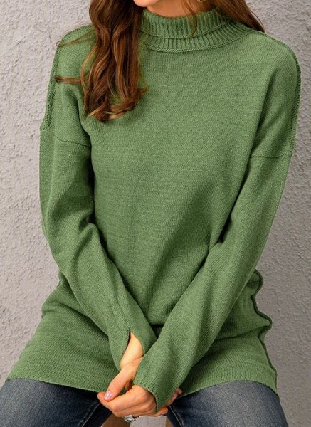Draped Neckline Solid Casual Loose Long Shift Sweaters_3