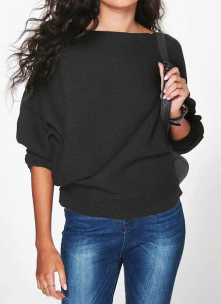 Boat Neckline Solid Casual Loose Regular Shift Sweaters_2