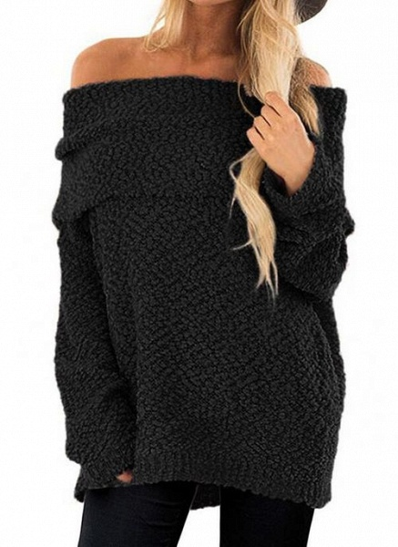 Off the Shoulder Solid Casual Loose Regular Shift Sweaters_4
