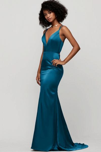Trumpet/Mermaid V-neck Sweep Train silk like satin Evening Dress_4