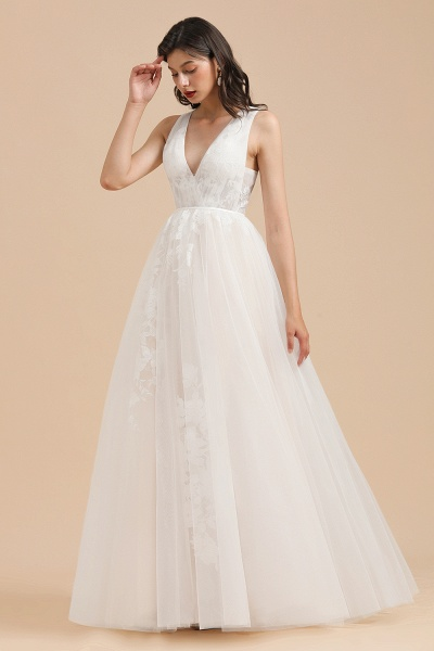 Amazing Illusion Lace Tulle A-line Wedding Dress_9