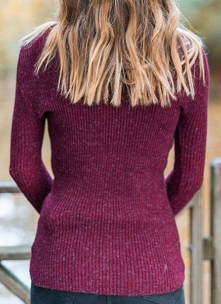 High Neckline Solid Casual Tight Regular Shift Sweaters_8