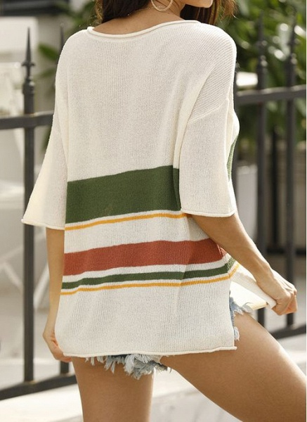 V-Neckline Stripe Elegant Loose Regular Shift Sweaters_6