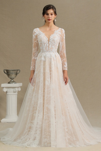 CPH230 Sheer Tulle Long Sleeve A-line Illusion Lace Wedding Dress_2