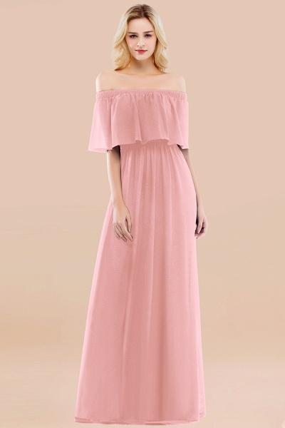 A-line Chiffon Off-the-Shoulder Short-Sleeves Ruffles Floor-length Bridesmaid Dress_4