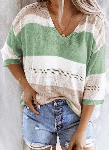 V-Neckline Color Block Casual Loose Regular Shift Sweaters_4