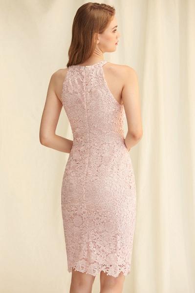Sheath/Column Scoop Neck Knee-Length Lace Cocktail Dress_4