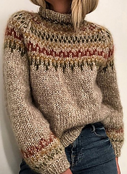 High Neckline Color Block Casual Loose Regular Shift Sweaters