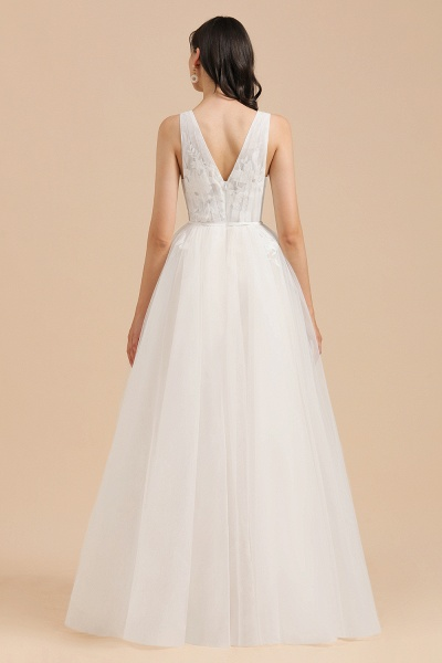 Amazing Illusion Lace Tulle A-line Wedding Dress_3