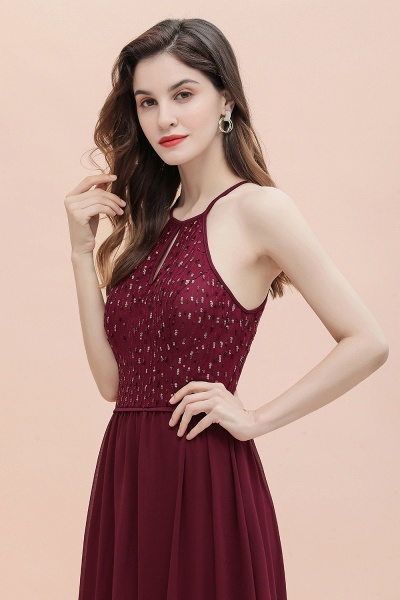 Halter Sequins A-line Chiffon Evening Dress_8