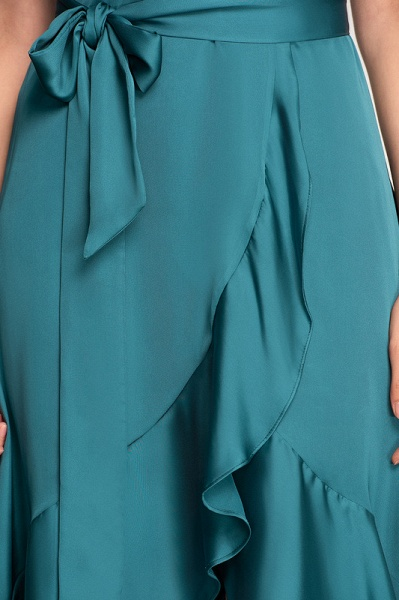 A-Line Asymmetrical Cocktail Dress With Bow(s) Cascading Ruffles_5