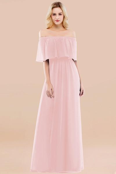 A-line Chiffon Off-the-Shoulder Short-Sleeves Ruffles Floor-length Bridesmaid Dress_3