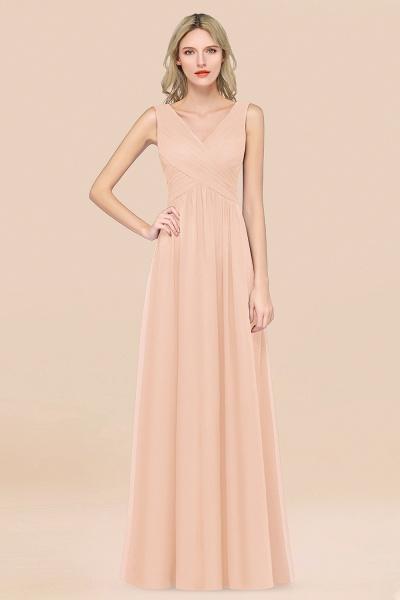 A-Line Chiffon Straps V-Neck Sleeveless Floor-Length Bridesmaid Dress with Ruffles_5