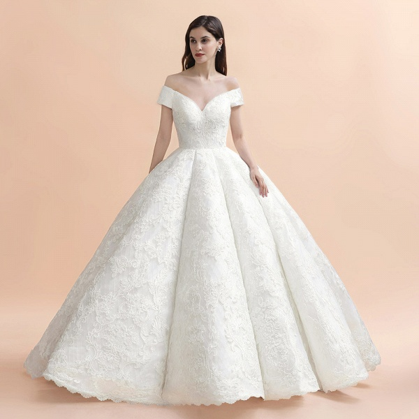 Graceful Off The Shoulder Lace Tulle Ball Gown Wedding Dress_4