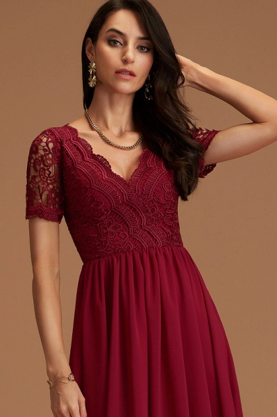 A-Line V-neck Chiffon Cocktail Dress With Lace_2