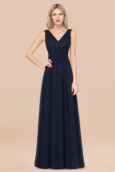 A-Line Chiffon Straps V-Neck Sleeveless Floor-Length Bridesmaid Dress with Ruffles_28